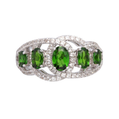 jcpenney.com | Womens Green Chrome Diopside Sterling Silver Side Stone Ring