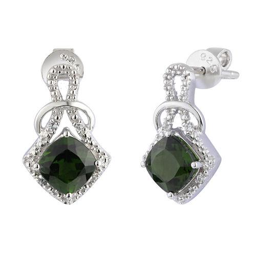Green Chrome Diopside Sterling Silver Drop Earrings