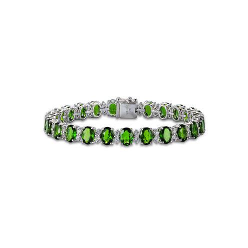 Womens Green Chrome Diopside Sterling Silver Link Bracelet