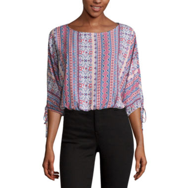 jcpenney.com | Self Esteem Long Sleeve Boat Neck Woven Blouse-Juniors