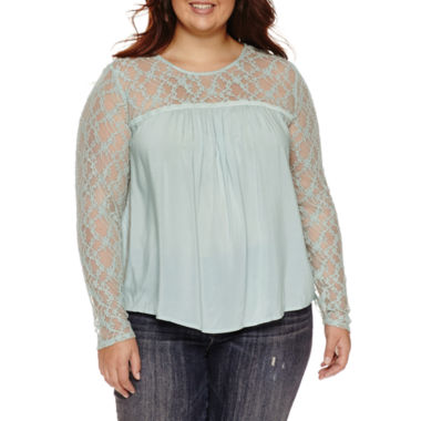 jcpenney.com | Arizona Lace Sleeve Peasant Top- Juniors Plus
