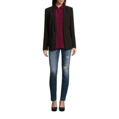 jcpenney.com | Belle + Sky Boyfriend Blazer, Roll Tab Top and Destructed Skinny Jeans