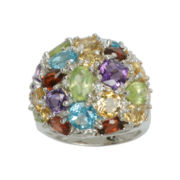 Sterling Silver Multi-Gemstone Cluster Ring