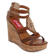 Pop Stardust Beaded Wedge Sandals