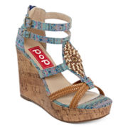 Pop Stardust Beaded Wedge Strap Sandals