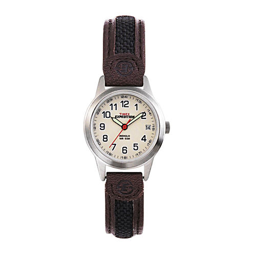 Timex® Expedition® Field Metal Womens Brown Leather Strap Watch T411819J
