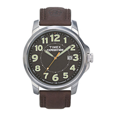 jcpenney.com | Timex® Expedition® Field Metal Elevated Mens Brown Leather Strap Watch T449219J