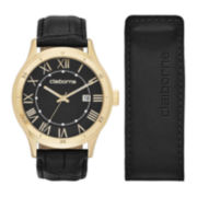 Claiborne® Mens Black Leather Watch and Money Clip Set