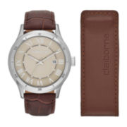 Claiborne® Mens Brown Leather Watch and Money Clip Set