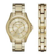 Claiborne® Mens Gold-Tone Watch and Bracelet Set