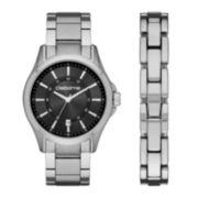 Claiborne® Mens Silver-Tone Watch and Bracelet Set