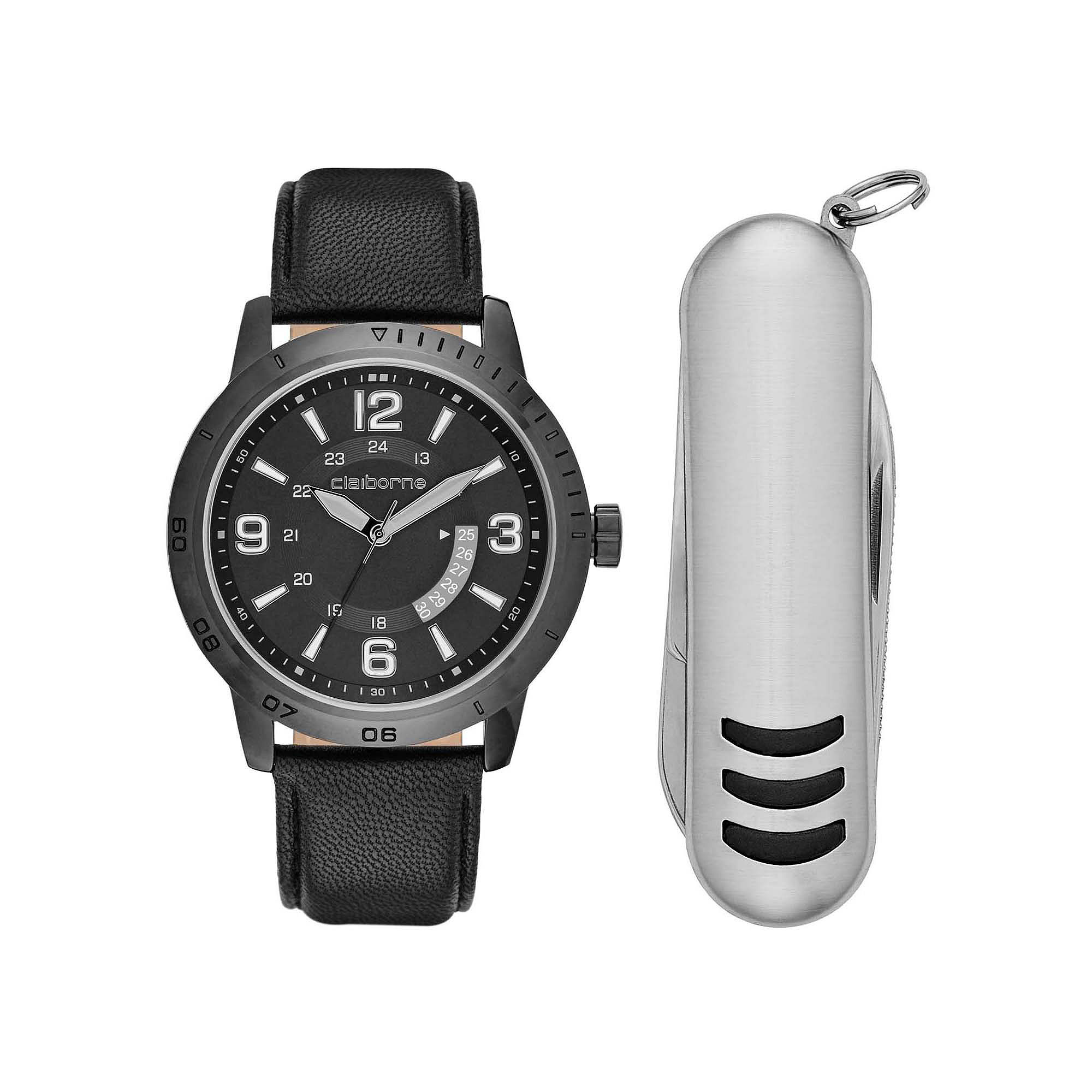 Claiborne Mens Black Leather Strap Watch and Pocket Knife Set