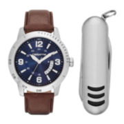 Claiborne® Mens Brown Leather Strap Watch and Pocket Knife Set