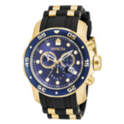Invicta® Pro Diver Mens 18K Gold Over Stainless Steel & Black Rubber Chronograph Sport Watch 17882