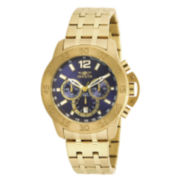 Invicta® Mens Gold-Tone Stainless Steel Blue Dial Bracelet Watch 17447