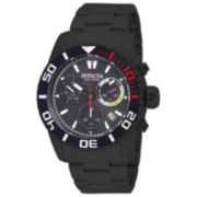 Invicta® Mens Black Dial Black Silicone Strap Pro Diver Watch