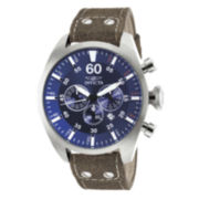 Invicta® Mens Aviator Brown Leather Strap Blue Dial Watch