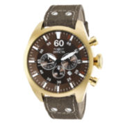 Invicta® Aviator Mens Gold Over Stainless Steel Brown Leather Strap Watch