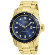 Invicta® Mens Pro Diver Blue Dial Gold-Tone Stainless Steel Watch