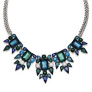 Mixit™ Blue and Teal Crystal Silver-Tone Statement Necklace