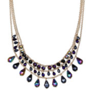 Mixit™ Purple Crystal 3-Row Gold-Tone Statement Necklace