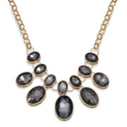 Mixit™ Black Oval Crystal Gold-Tone Statement Necklace