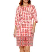 Liz Claiborne® 3/4-Sleeve Tie-Waist Dress - Plus