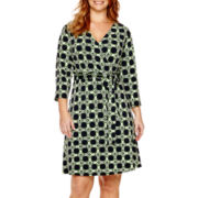 Liz Claiborne® 3/4-Sleeve Belted Wrap Dress - Plus