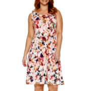 Liz Claiborne® Sleeveless Floral Print Fit-and-Flare Dress - Plus