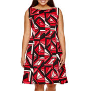 Worthington® Sleeveless Scuba Fit-and-Flare Dress - Plus