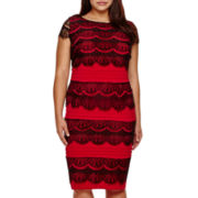 Signature by Sangria Cap-Sleeve Lace Sheath Dress - Plus