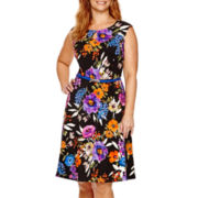 London Style Collection Dolman-Sleeve Print Shift Dress - Plus