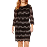 Blu Sage 3/4-Sleeve Chevron Lace Sheath Dress - Plus