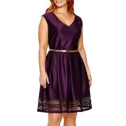 Tiana B. Cap-Sleeve Belted Fit-and-Flare Dress - Plus