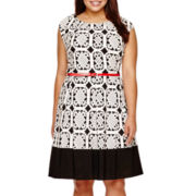 Tiana B. Cap-Sleeve Belted Print Fit-and-Flare Dress - Plus