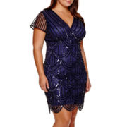 Marina Short-Sleeve Beaded Sheath Dress - Plus