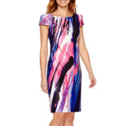 DR Collection Short-Sleeve Print Scuba Sheath Dress - Petite
