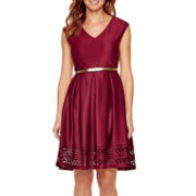 Tiana B. Cap-Sleeve Belted Fit-and-Flare Dress - Petite