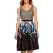 Danny & Nicole® Sleeveless Belted Fit-and-Flare Dress - Petite