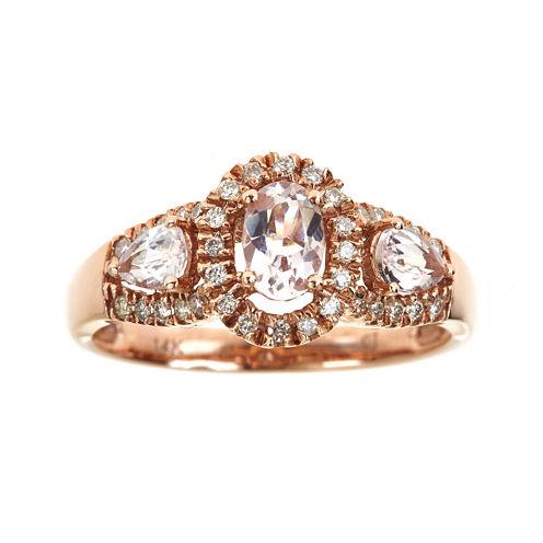 LIMITED QUANTITIES  Genuine Morganite and Diamond Ring