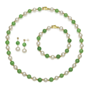 jcpenney.com | Cultured Freshwater Pearl and Green Jade 3-pc. Boxed Jewelry Set