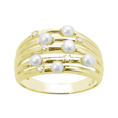 jcpenney.com | Cultured Freshwater Pearl and Genuine White Topaz Sterling Silver Multi-Row Ring