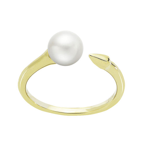 Cultured Freshwater Pearl and Arrow 14K Yellow Gold Open Ring