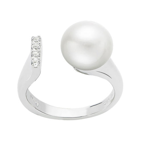 Cultured Freshwater Pearl and Genuine White Topaz Sterling Silver Open Ring