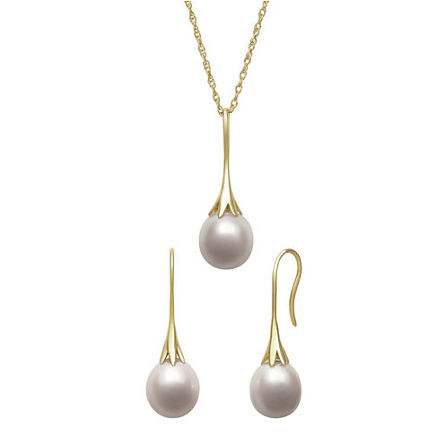 Cultured Freshwater Pearl Drop Earring and Pendant Necklace Set