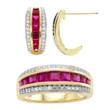 jcpenney.com | Lab-Created Ruby and White Sapphire Earring and Ring Boxed Set