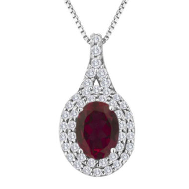 jcpenney.com | Lab-Created Ruby and White Sapphire Sterling Silver Halo Pendant Necklace