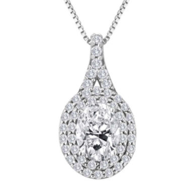 jcpenney.com | Lab-Created White Sapphire Sterling Silver Halo Pendant Necklace