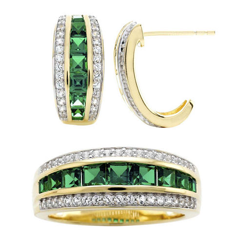 Lab-Created Emerald and White Sapphire Earring and Ring Boxed Set
