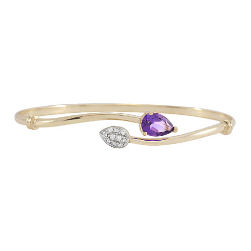 Genuine Amethyst & Lab-Created White Sapphire Bypass Bangle Bracelet in 14K Gold over Silver